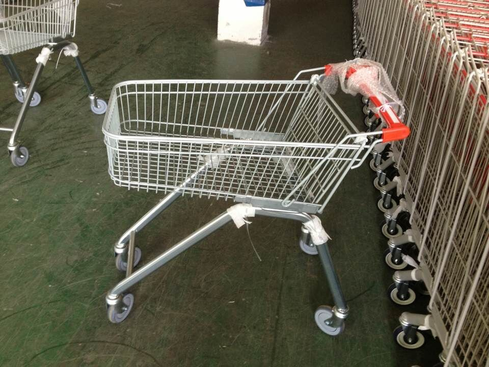 Customized Curved Handle Supermarket Shopping Trolley 100L Basket Volume