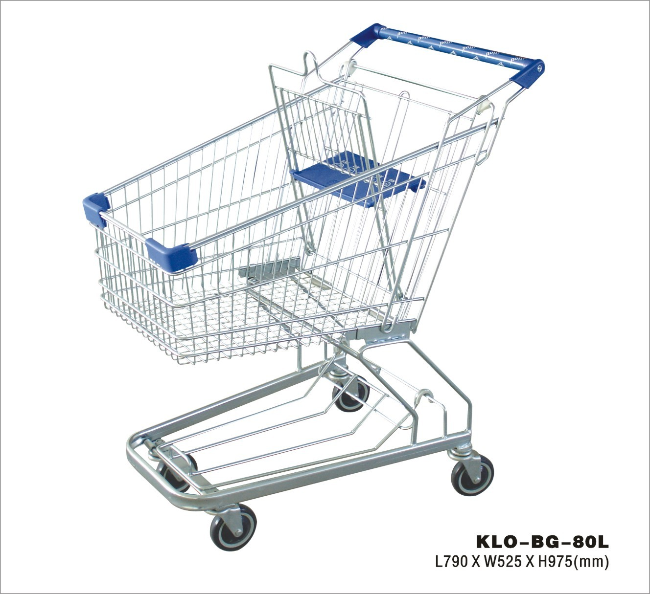 Modern Supermarket Shopping Trolley With 4 Swivel Flat Bearing Blue Pu Wheel
