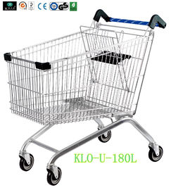 Portable Metal Chrome Disepuh Disabled Shopping Trolley Untuk Hypermarket 180 Liter