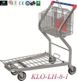 2 Tier Folding Warehouse Factory Cargo Trolley Dengan 4 Swivel 5 Inch PU Wheels