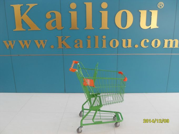 Amercian Supermarket Shopping Trolley Steel Material With metal tube handle printed logo